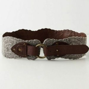 Anthropologie Silver Beaded Leather Belt